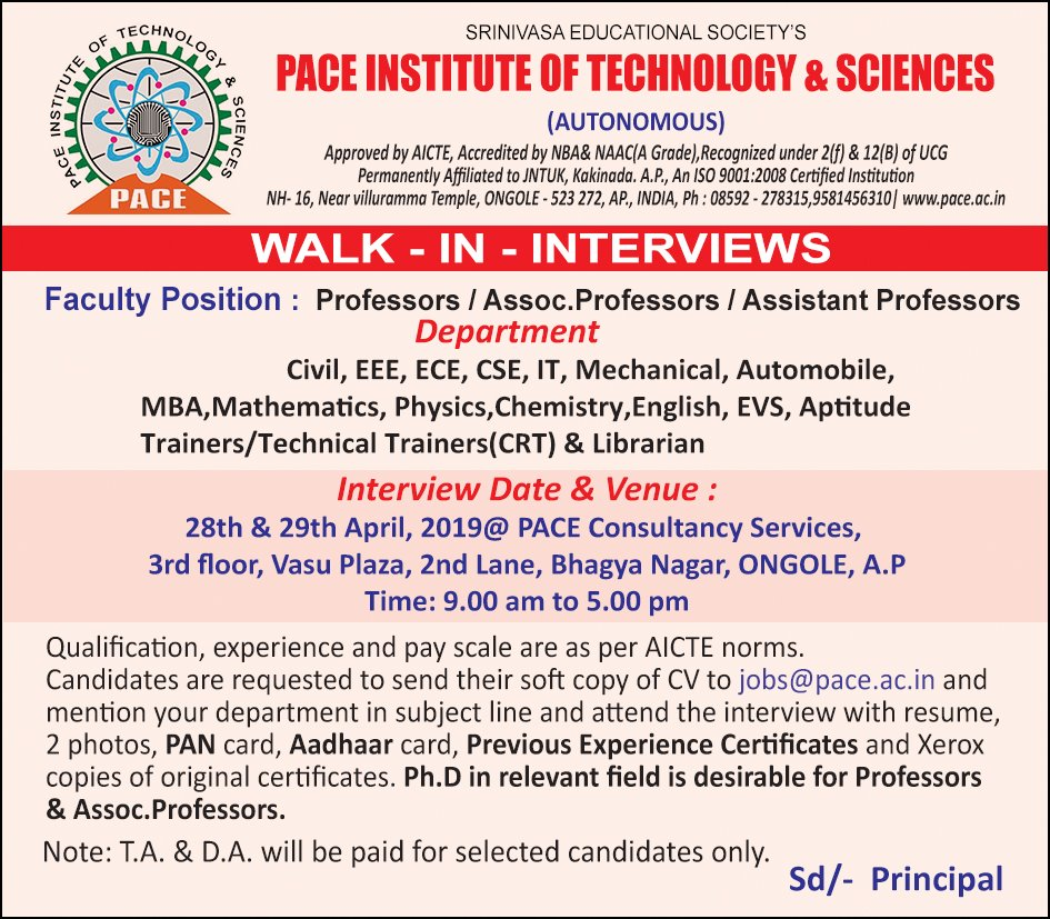 PACE INSTITUTE OF TECHNOLOGY & SCIENCES
